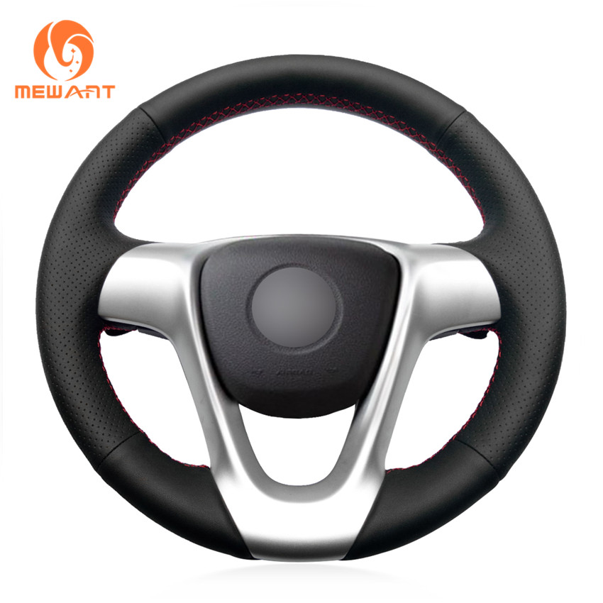 MEWANT Black Genuine Leather Comfortable Hand Sew Wrap Car Steering Wheel Cover for Smart Fortwo 2009