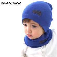 [DINGDNSHOW] 2019 Winter Cap Candy Color Beanies Hat Warm Bonnet Hat Cotton Knitted Hat Cartoon Kids Skullies Hat Baby Boy Girls(China)