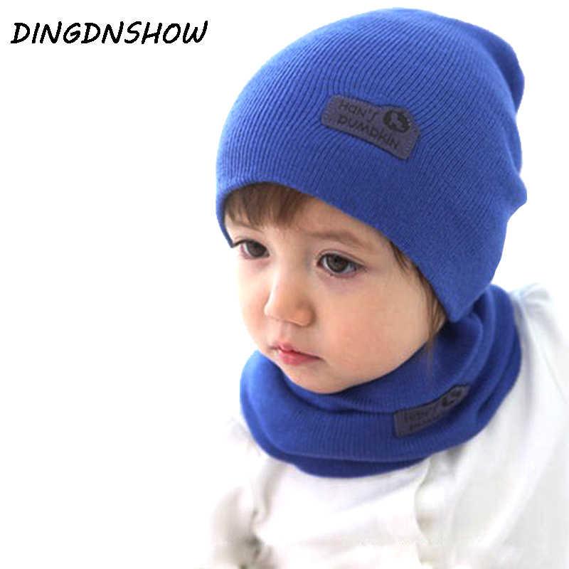 [DINGDNSHOW] 2019 Winter Cap Candy Color Beanies Hat Warm Bonnet Hat Cotton Knitted Hat Cartoon Kids Skullies Hat Baby Boy Girls