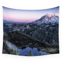 Mountain And Full Moon Wall Tapestry Medium: 68 x 80 Wall Hanging Throw Bohemian Door Curtain