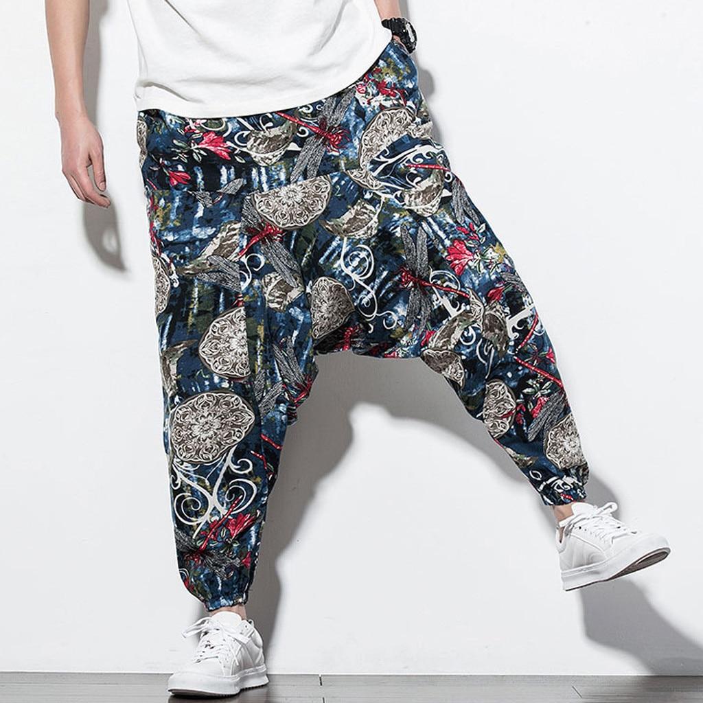 Trouser Jogger Floral-Print Men's Pant Streetwear Cotton Linen Vintage Casual Fashion