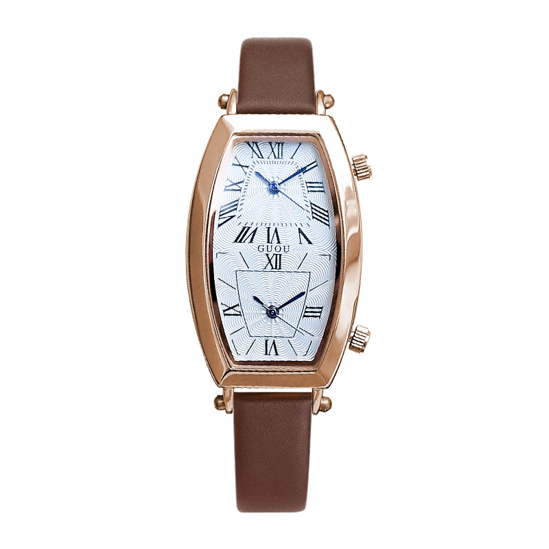 Fashion Watches Barrel shape double movement double dial Top Luxury Leather Strap Quartz Wristwatch New Women Casual Clock Fashion Watches Barrel shape double movement double dial Top Luxury Leather Strap Quartz Wristwatch New Women Casual Clock