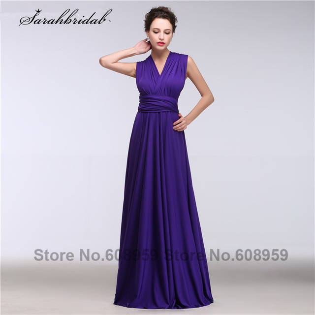 Multipurpose Purple Bridesmaid Dresses Pleated Chiffon Long Formal Dress Wedding Occasion Vestido De Festa Gt068