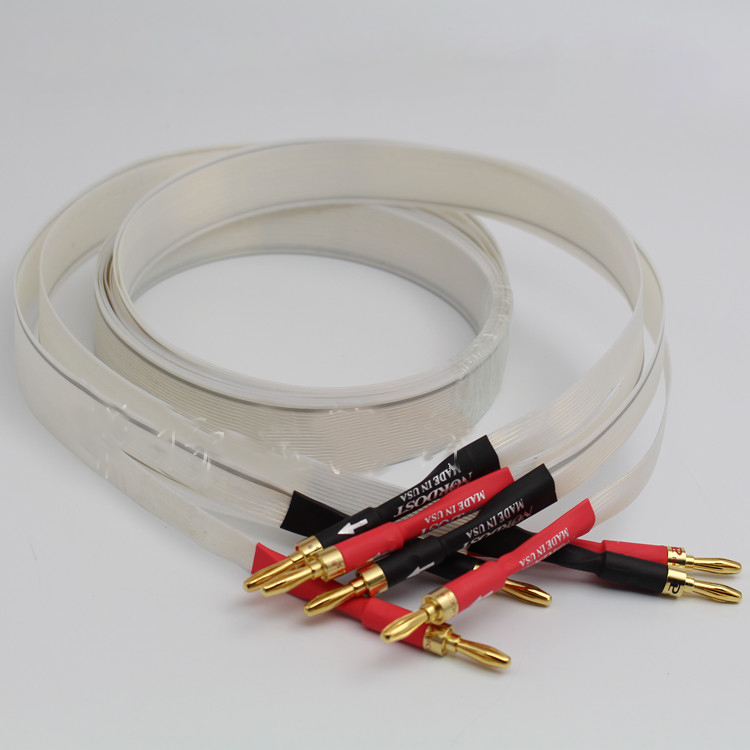 pair silver speaker cable 2.5M length with Gold Plated banana terminal plug 60 core free shipping nordost odin 2 silver speaker cable with silver banana plug or spade plug