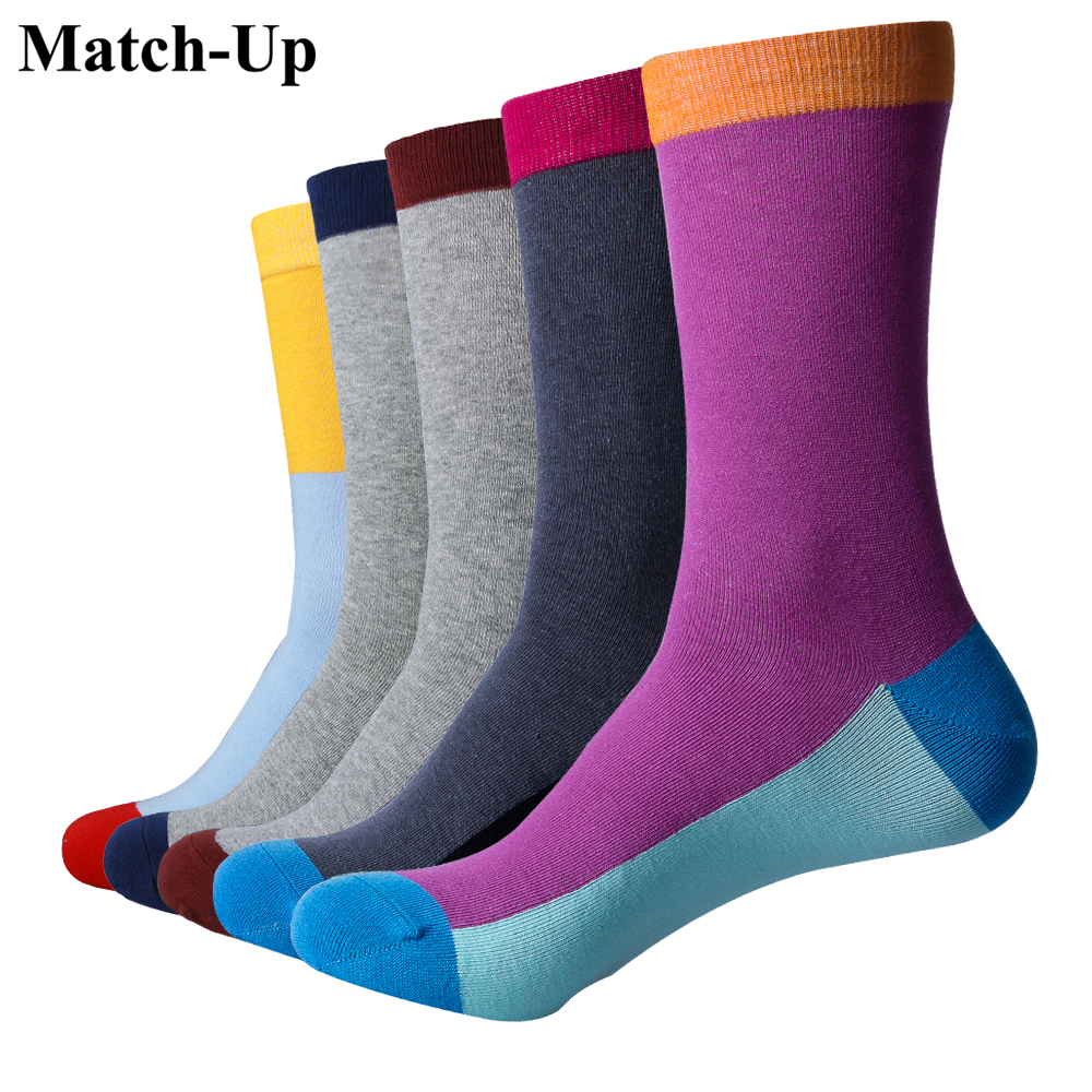 Match-Up men Colour crew cotton socks fashion style Mens Casual socks man Fun trendy Pure color socks