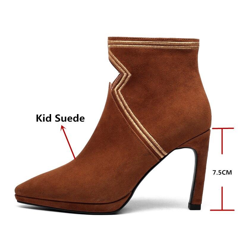 Botas Básicas marrón Fedonas Moda Partido Mujer Mujeres Otoño Invierno  Cuero Negro Boda Altos Zapatos Calidad ... d83e8df12db1
