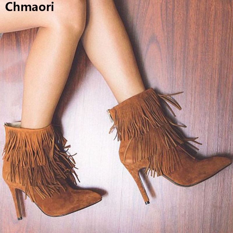 New arrival suede tassel pointed toe high heel boots Zipper ankle shoes women boots spring and autumn shoes brand designer jd коллекция белый 85в