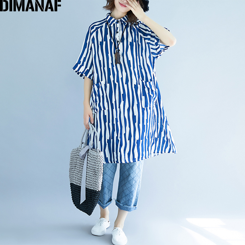 DIMANAF Women   Blouse     Shirts   Cotton Summer Plus Size Striped Print Femme Office Lady Large Clothing Loose Basic Long   Shirts   Thin