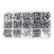 цена на 1 Set 440pcs M3 M4 M5 Stainless Steel SS304 Hex Socket Button Head Bolts Screws and Nuts Assortment