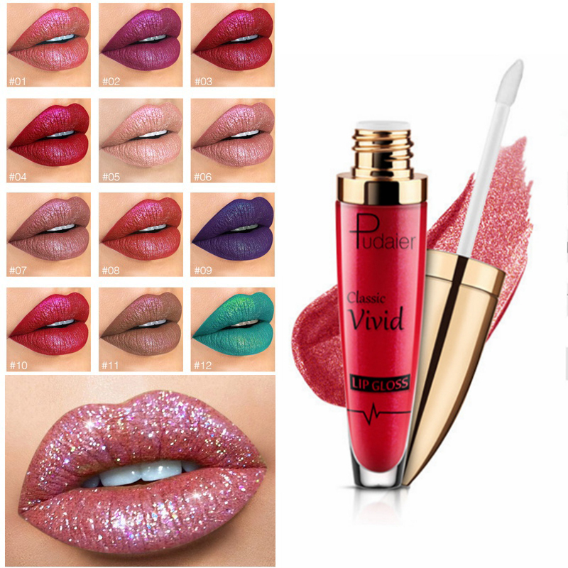 <font><b>Pudaier</b></font> Diamond Glitter Lipgloss Make Up 18 Color Shiny <font><b>Matte</b></font> Liquid <font><b>Lipstick</b></font> <font><b>Set</b></font> Waterproof Long Lasting <font><b>Lip</b></font> <font><b>Gloss</b></font> <font><b>Cosmetics</b></font> image
