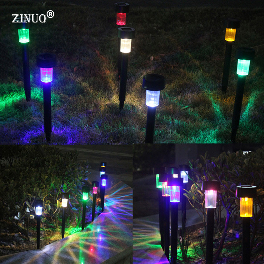 10pcs/Lot Solar Panel LED Spike Outdoor Plastic Spot Light Landscape Garden Yard Path Lawn Lamps white light