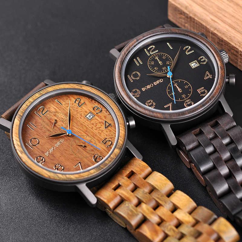Erkek Kol Saati luksusowa marka BOBO ptak nowe wzory zegarek człowiek drewniana opaska zaakceptować Dropshipping ojca i męża wielki prezent