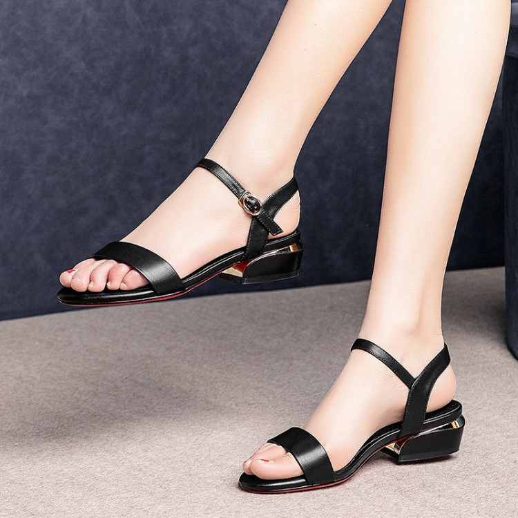 MLJUESE 2019 women sandals Cow leather Rome style black color open toe square heel low heel