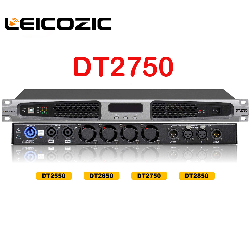 leicozic dt2750 aduio amplifier 750w rms 1200w 4ohms class d professional power amplifier power. Black Bedroom Furniture Sets. Home Design Ideas