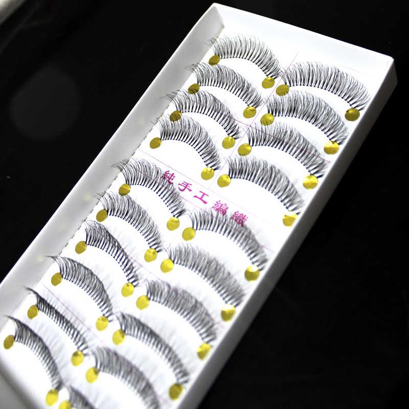Gujhui Termurah!!! Jual Hot 10 Pasang/Set Baru Makeup Bulu Mata Palsu Lembut Alami Cross Panjang Mata Bulu Mata Ekstensi