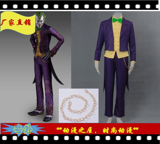 Batman: Arkham City Joker Cosplay Costume Halloween Clothing For Adult/Children Custom-Made XXS-6XL Free Shipping
