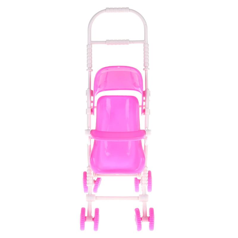 Mini Pink Baby Stroller for Barbie Doll Kids Carriage Stroller Trolley Nursery Toy Furniture for Barbie Dolls Accessories