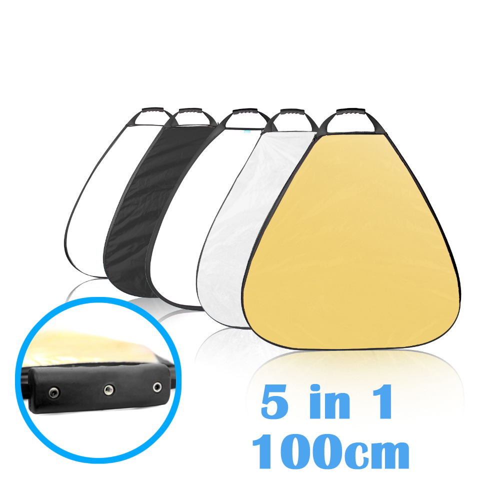 Selens 5in1 Portable Réflecteur 100 cm/39.4 pouces 5 couleur Triangle photographie pliable diffuseur Photo Studio Accessoires