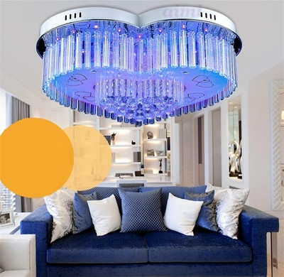 7 Colour 30w LED K9 crystal droplight 4 light bedroom lamps and lanterns is contemporary and contracted LED crystal heart light in Ceiling Lights from Lights Lighting