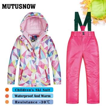 ac46713dce14 2018 traje de esquí niños las marcas de alta calidad ropa de esquí a prueba  de viento impermeable niños niñas pantalones de nieve caliente niño ...