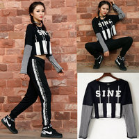 Dance hip hop top female Jazz costume Ds performance wear Adult personalized Crack printing loose Black White Striped t shirt