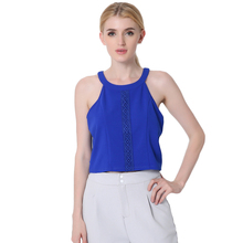 chiffon Blouses 2017 summer Womens Shirt Round Neck Lace Crop Top Fashion sleeveless Tank Tops Ladies blouses for work