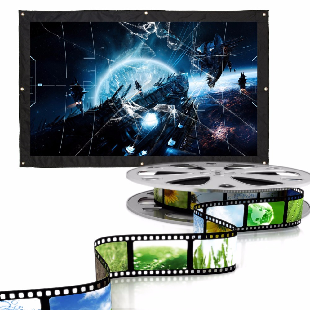 100 Inch 16:9 Indoor Outdoor Film Theater Movie Projection Screen Curtain Projector Matte White 24 dark gray gray white holographic rear projection screen transparent rear projector film indoor hologram advertising