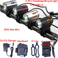 2016 new Mini Bicycle light CREE XM-L2 LED Front Light MINI Bike Head Lamp 2000Lm Headlamp Headlight + Battery Pack + Charger