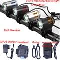 2016 new Mini Bicycle light CREE XM-L2 LED Front Light MINI Bike Head Lamp 2000Lm Headlamp Headlight + Battery Pack + Charger