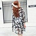2016 verão coreano moda manga comprida floral impresso blusas gravidez chiffon protetor solar camisa ar condicionado