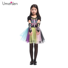Umorden Colorful Girls Funky Punky Bones Skeleton Costume Tutu Dress Halloween Party Carnival Masquerade Fantasia Costumes