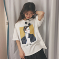 2017 Korean Women Summer Style Harajuku Loose personality T Shirts Kawaii Cotton Short Sleeve Printing Tee Female Loose Cute Top