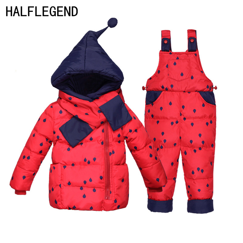 2017 New Baby Girls Parka Polka Dot Girl Winter Duck Down Coat With Scarf Thickening Warm Jacket+Pants Down Jacket Set For Girls new 2016 baby down coats set baby down jacket suspenders girl