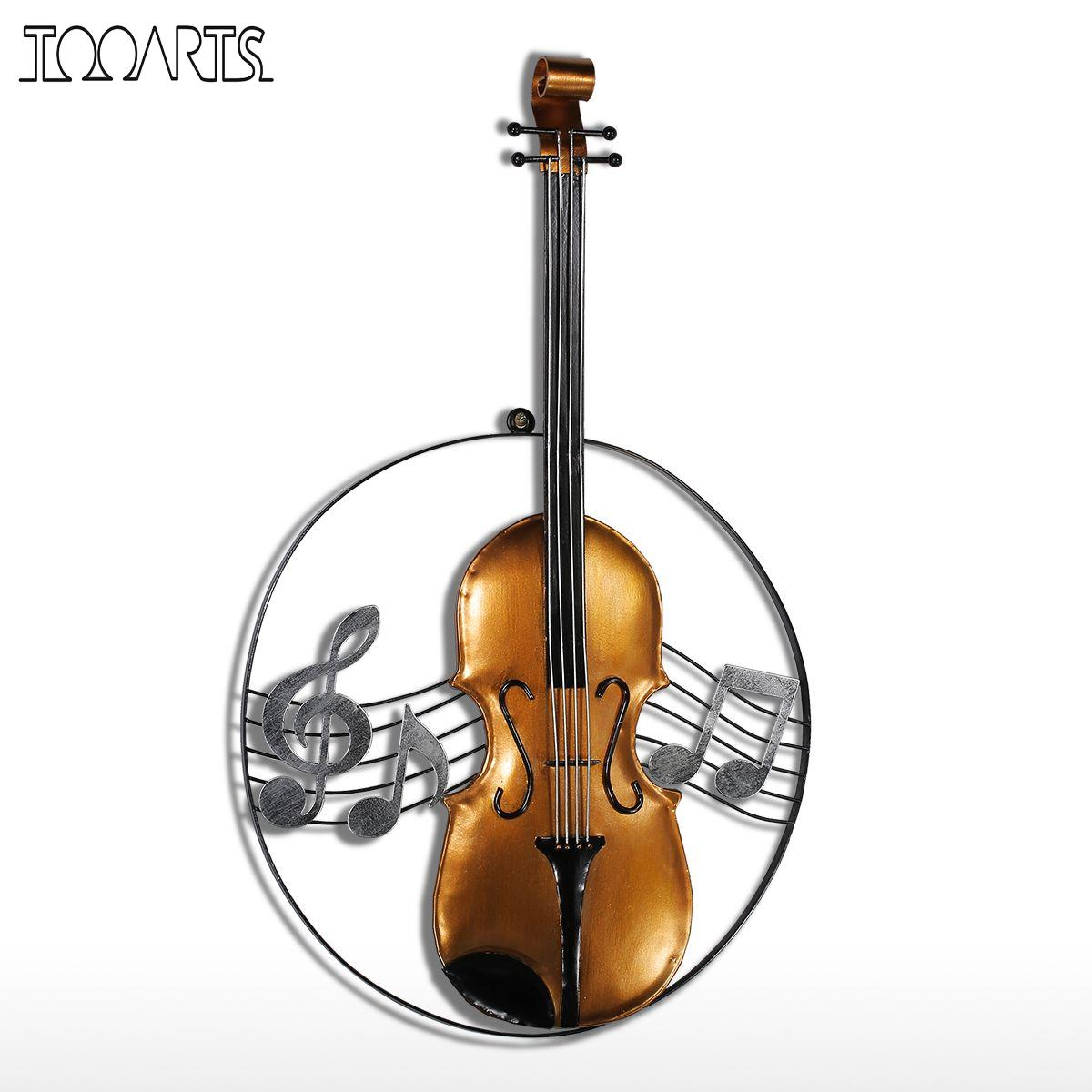 Violin christmas ornaments - Tooarts Violin Figurine Ornament Modern Metal Home Decor Themed Wall Hangings Decor Music Theme Instrument Craft