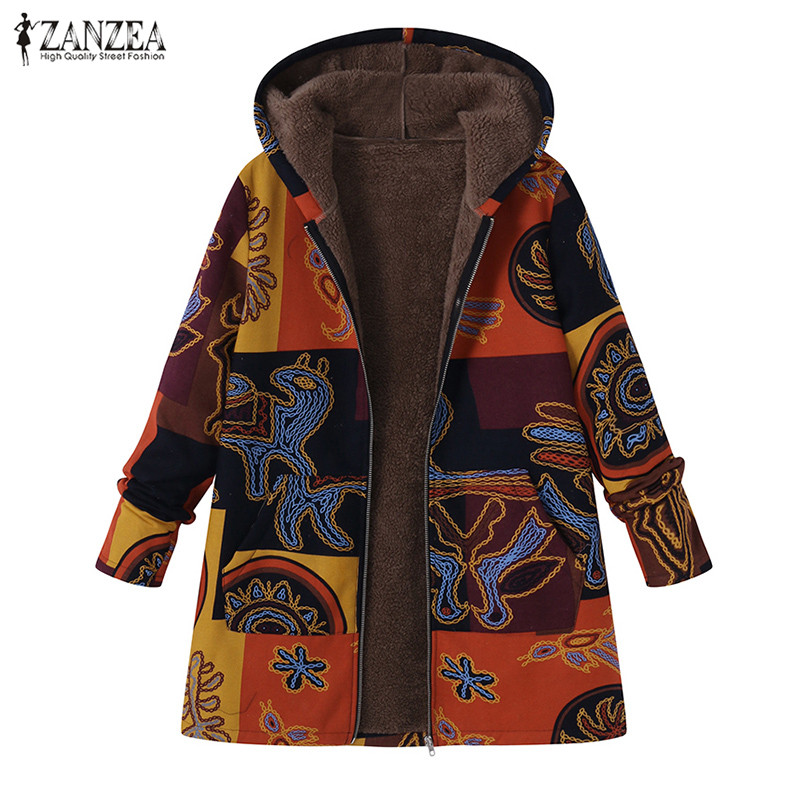 2020 ZANZEA Spring Hooded Coats Women's Printed Jackets Ethnic Faux Lining Thin Outerwear Female Zip Up Overcoats Plus Size Tops