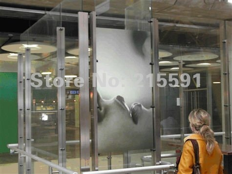 Low price self adhesive transparent rear projectioni screen/foil/film for  museum, shopping mall