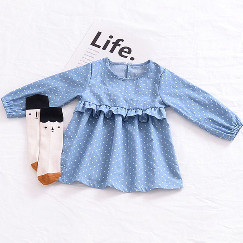 New Casual Spring Autumn Infant Bobo Bebe Baby Girls Cowboy Dress Children Children Denim Dresses White Polka-dot Dress 1-4Y