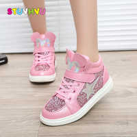 Girls sports shoes winter kids fashion snow boots warm baby girls shoes flat with round toe cotton thick sequins shoes for child