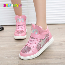 Girls sports shoes winter kids fashion snow boots warm baby girls flat with round toe cotton thick sequins for child