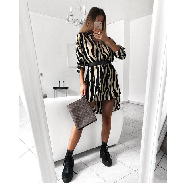 Женское осеннее сексуальное леопардовое платье в полоску со змеиным принтом с длинным рукавом и v-образным вырезом, повседневное мини-плать...