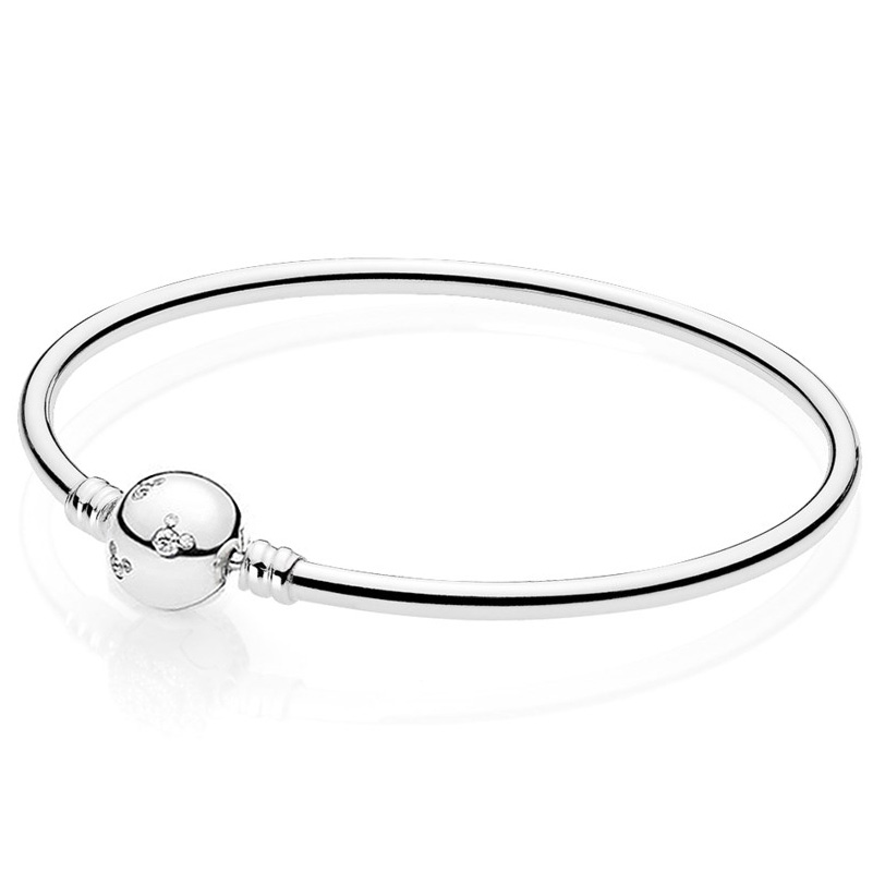 New 925 Sterling Silver Cartoon Mouse With Crystal Clasp Snake Pan Bracelet Bangle Fit Women Bead Charm DIY Jewelry