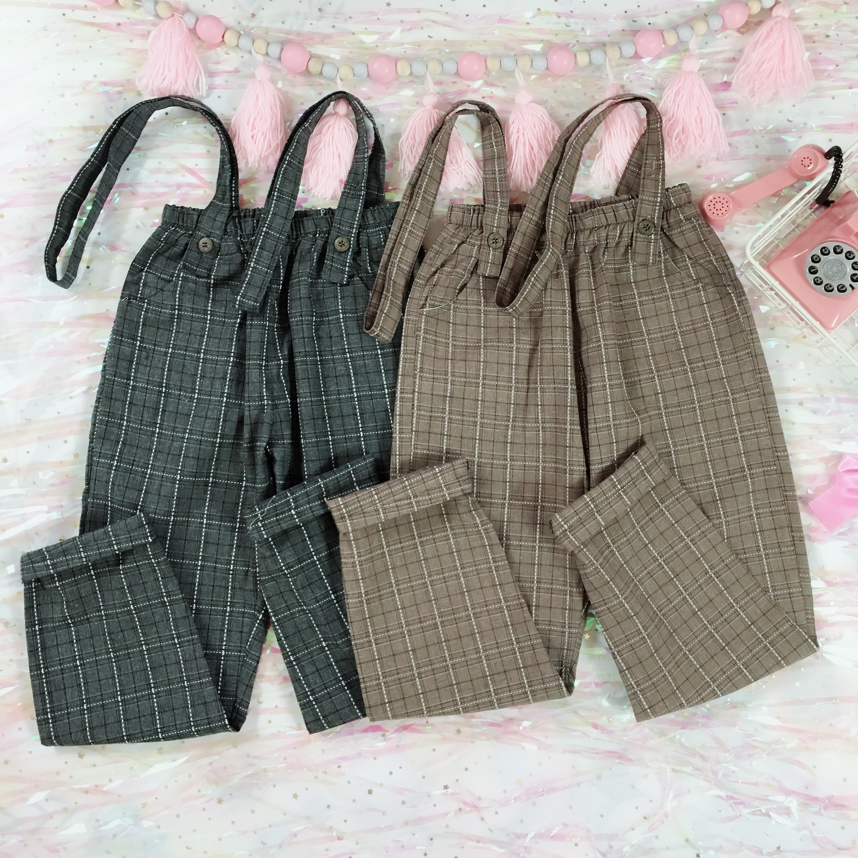 8ec04c82e4 Vintage Women Jumpsuits Japanese Cute Girls  Elastic Waist Casual Plaid  Overalls Backless Cotton Linen Suspender Wide Leg Pants