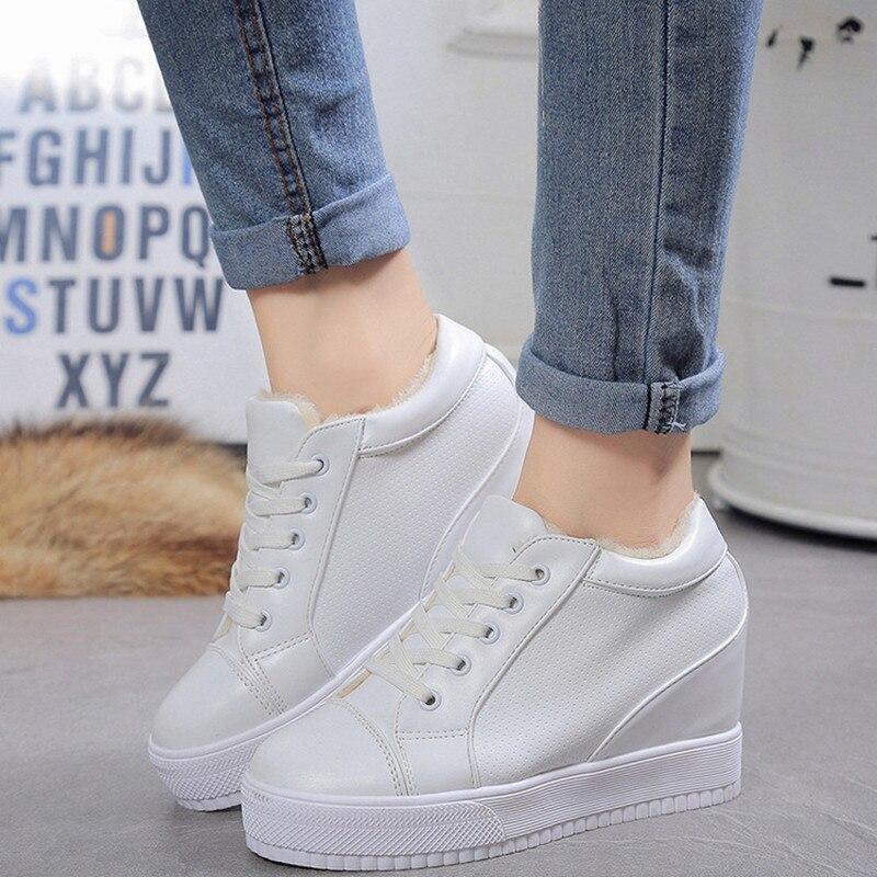 Invierno Nuevo Patrón de Las Mujeres Zapatos Casuales Aumento Pequeño Círculo Bl