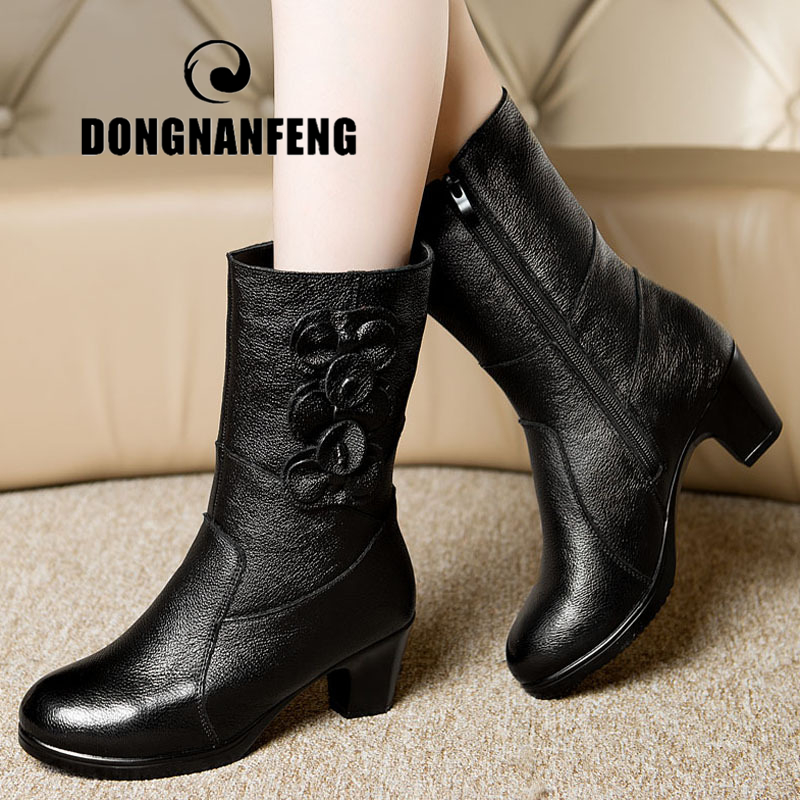 DONGNANFENG Women Ladies Female Old Mother Boots Shoes Cow Genuine Leather Flower Winter Fur Plush Zipper