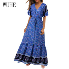 WUHE Summer Beach Maxi Dress Women Floral Print Boho Long Sexy V-Neck Short Sleeve Lace-up Retro Bohemian Robe Femme