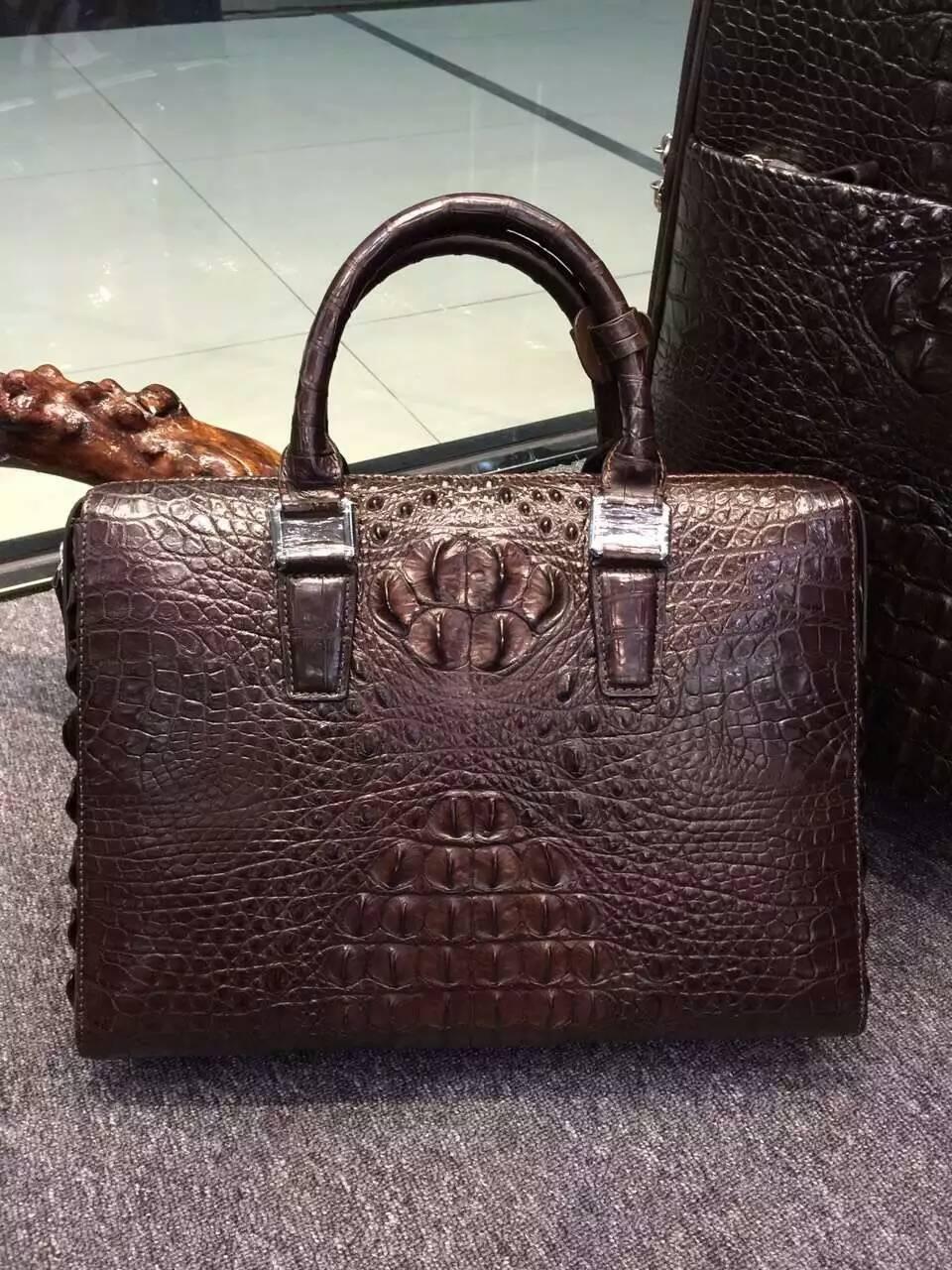 Mens Genuine Alligator Skin Leather Business Briefcase Bag 100 Tote Kulit Voila Callysta Dark Brown Crocodile Men Laptop Luxury Aligator