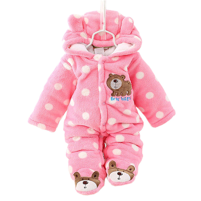 Newborn Baby Girls Rompers Cotton Padded Thick Winter Clothing Set Cartoon Bear Infant Climb Hooded Clothes Babies Boy Jumpsuits ноутбук acer aspire vn7 592g 5284 nh g6jer 008