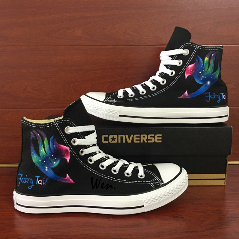 Sneakers Men Women Converse All Star Anime Fairy Tail Galaxy Design Custom Hand Painted Shoes Man Woman Christmas Gifts classic original converse all star minim musical note design hand painted shoes man woman sneakers men women christmas gifts
