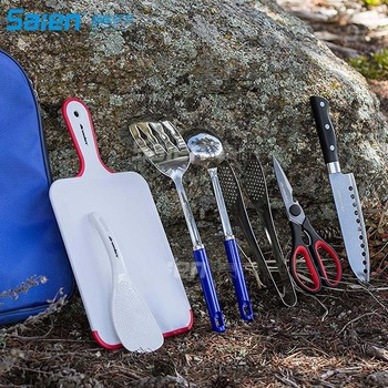 Camp Kitchen Utensil Organizer Travel Set - Portable 8 Piece BBQ Camping Cookware Utensils Travel Kit 5