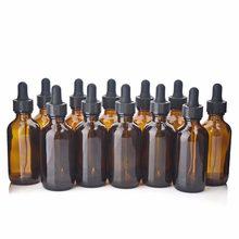 12 garrafas de vidro âmbar do conta-gotas do olho dos pces 60ml vazias garrafa de vidro da pipeta de brown para recipientes cosméticos dos produtos químicos do laboratório dos óleos essenciais